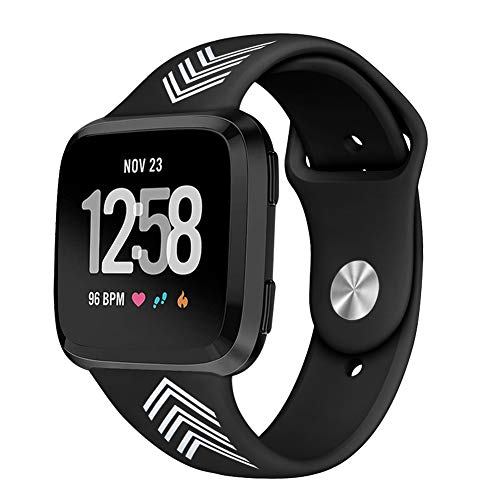 Kmasic Sport Band Compatible Fitbit Versa, Soft Silicone Strap Replacement Wristband Fitbit Versa Smart Fitness Watch, Large Small (Black with Arrow, Large)