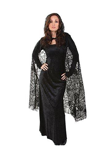 Spider Web Cape Costume (Underwraps Women's 55 Inch Sheer Spiderweb Cape, Black, One Size)