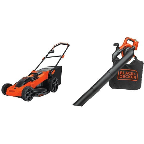 BLACK+DECKER CM2040 40V Lithium 3-in-1 Cordless Mower + Compatible LSWV36 Sweeper/Vac Bare Tool Bundle