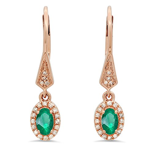 Oval 5x3mm Emerald (10K Rose Gold 5X3 MM Each Oval Emerald & Round White Diamond Ladies Halo Dangling Earrings)