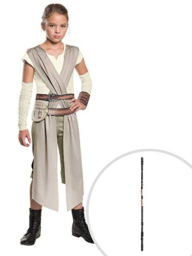 Star Wars The Force Awakens Rey Costume Kit Classic Kids Small With Staff