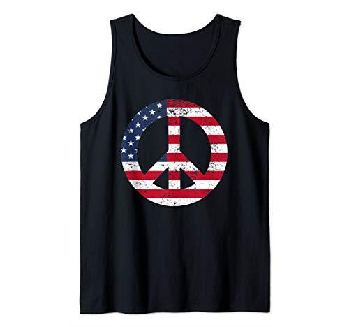 Peace Sign Shirt Patriotic USA Flag Peace & Love Tank Top