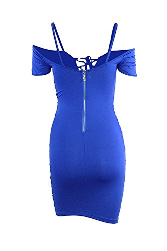 Sexy Bodycon Amstt Randello Blu Del Mini Del Increspato Spalla Dalla Usura Abito Up Donne Lace aCCx50q4