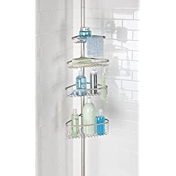 mDesign Bathroom Shower Storage Constant Tension Corner Pole Caddy � Adjustable Height - 4 Positionable Baskets - for Organizing and Containing Hand Soap, Body Wash, Wash Cloths, Razors � Satin