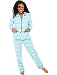 Womens Solids and Prints Fleece Pajamas, Long Button Down...