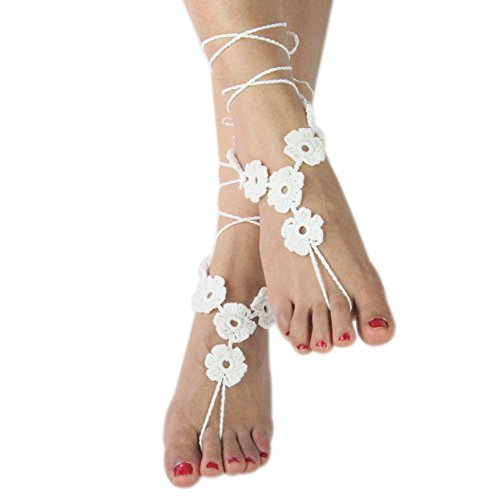 Vogholic Beach Wedding Cotton Crochet Anklet Footless Nude Shoes Foot Decoration Barefoot Sandals