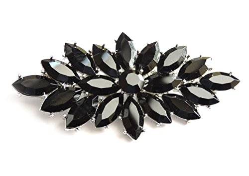 Marquise Vintage Brooch - Faship Black Pin Brooch Marquise Shape Vintage Style Floral