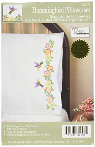 Tobin T232091 Stamped Pillowcase Pair Stamped Cross Stitch Kit for Embroidery, 20 by 30-Inch, Hummingbird