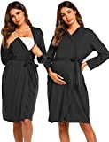 Ekouaer Women's Kimono Robes Cotton Lightweight Robe Long Knit Bathrobe Soft Sleepwear, Black, Small