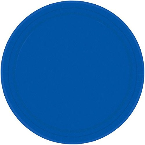 Amscan Round Bright Royal Blue Paper Plates, 20 Ct. | Party Tableware ()