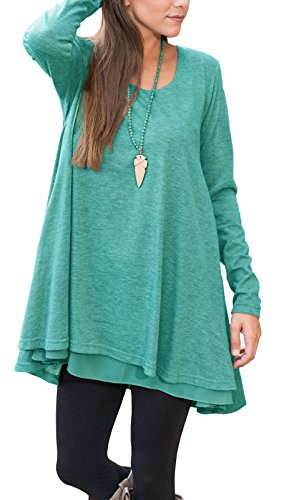 Tunic Length Floral Top (Floral Find Women Long Sleeve Blouse Layered Scoop Neck Tunic Loose Fit Top,Green,Large)