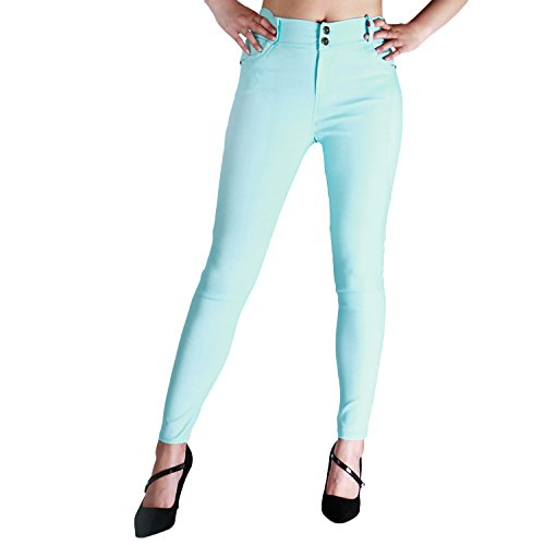 Threelove Women's jean look tight slimming trousers premium quality comfy stertch mid-rise jegging ankle length pants Baby-blue M