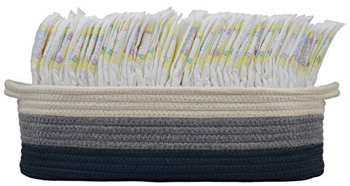"Cotton Rope Diaper Caddy Basket for Nursery Changing Table and Storage | 16"" x 6"" x 5"" Decorative Baby or Kids Room Organizer for Diapers, Wipes, or Small Toys 
