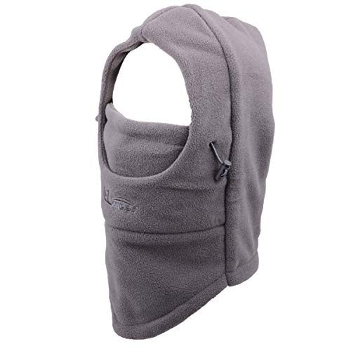 Azarxis Balaclava Ski Mask Full Face Mask Hood Neck Warmer Balaclava Hat Fleece (Dark Grey - Double Layer)
