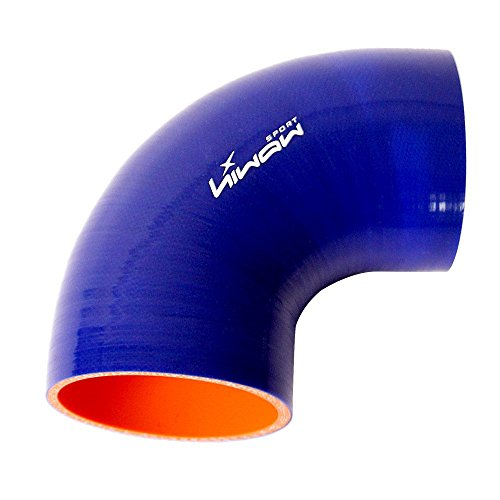 h Performance 90 Degree Elbow Coupler Silicone Hose for Auto Blue Color ()