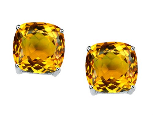 Star K 7mm Cushion Cut Genuine Citrine Earrings Studs 14 kt White Gold - White Gold Name Earrings