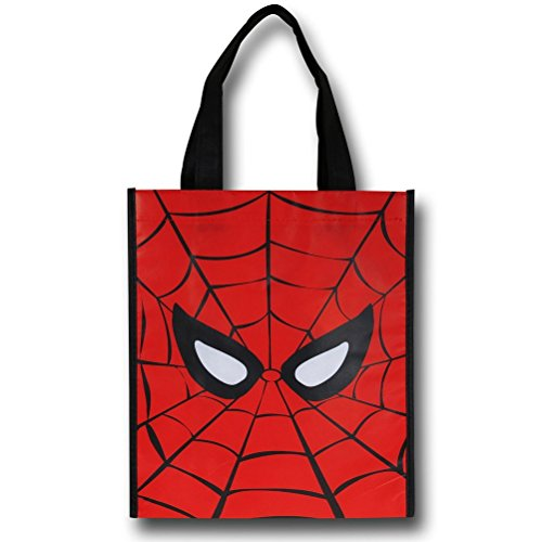 Vandor 26273 Marvel Spider-man Small Recycled Shopper Tote, Red, Black, and White