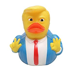 JiuRong Bath Toy for Kids, PVC Donald Trump Rubber Duck Bath Toy with Sound, Squeaky Floating Duck Toy, Beach Toy…