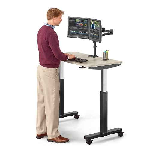 Lift Pneumatic Adjustable Height Table 47''W Gray Laminate Top/Titanium Frame by NBF Signature Series