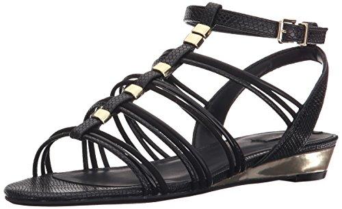 Reptile T-strap Sandal - ALDO Women's Mazie Wedge Sandal, Black/Multi, 6.5 B US