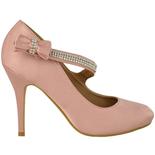Mode Soif Femmes Mariée Mariage Bal De Soirée À Talons Hauts Pompes Classiques Chaussures Taille Bébé Rose Satin