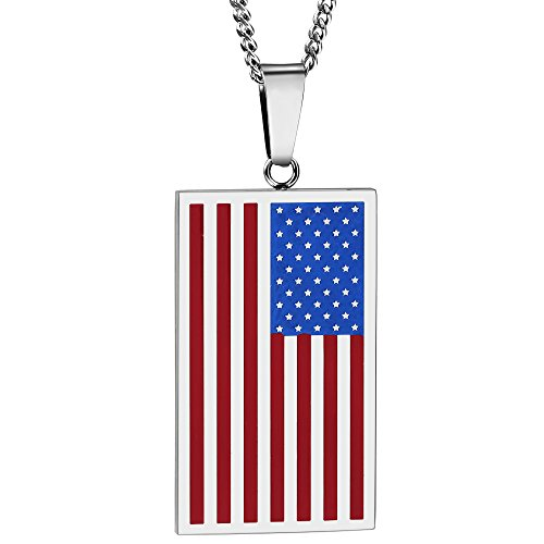 (ATDMEI National American Flag Pendant Necklace for Mens Women Stainless Steel Vintge Gothic Jewelry Gifts )