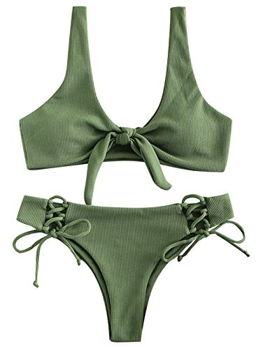 ZAFUL Womens Ribbed Bikini Sets Lace Up Tie Knot Swimsuit 4PCS Bathing Suit