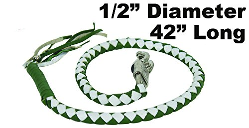 """42'' Long 1/2"""" Diameter Green & White Combination Naked Soft Genuine Leather Motorcycle Get Back Whip"""