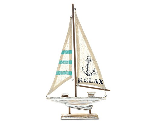 "- CoTa Global Nautical ""Aquarius Sailboat"" Intricate Art Decorative Wooden Coastal Boat Themed Tabletop Décor Handcrafted Hand Painted Wood Home Accent Kitchen Decoration Unique Gift Souvenir"