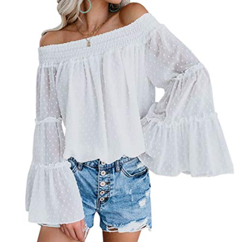 RUUHEE Women Shirred Off Shoulder Long Bell Sleeve Casual Tee Blouses Chiffon (XL(US Size 10-12),White)