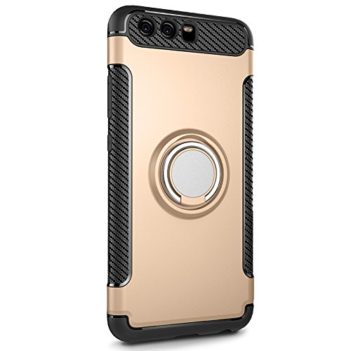 TIYA Huawei P10Plus case [Ring Armor Series] Shock Absorption Protective Magnetic Carriage Bracket Slim Scratch Resistant Air Space Technology Case Cover(Gold, Huawei P10 Plus)