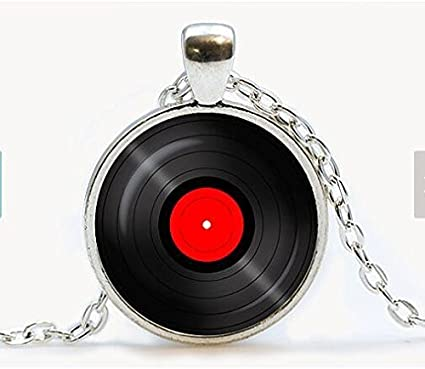 Fine Sterling Silver DJ LP Vinyl Disc Music Recording Pendant Necklace