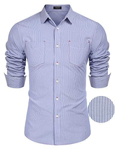 - COOFANDY Men's Business Dress Shirt Long Sleeve Slim Fit Striped Button Down Shirt Pinstripe Oxford Shirt