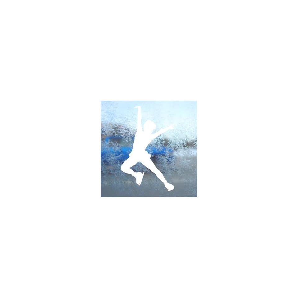 Ice Skate Skating White Decal Car Window Laptop White Sticker