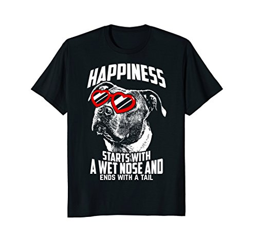 Happiness Starts Cute Pit Bull T-Shirt (Puppies Pit Nose Bull Red)