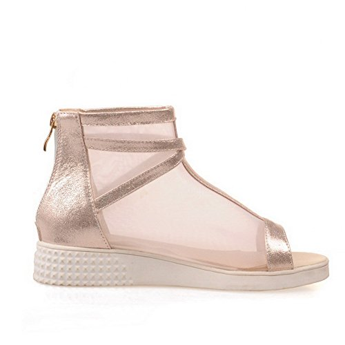 AllhqFashion Womens MeshLegging Solid Zipper Open Toe Low-Heels Wedges-Sandals Gold xzA5RXdA