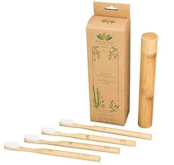 Cepillo de dientes de bambú de Ren & Ray. Paquete de 4 cerdas suaves medianas. Sin BPA. Biodegradable. Viene con caja de viaje.
