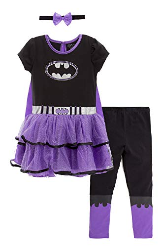 DC Comics Batgirl Baby Girls Costume Dress Cape Leggings & Headband 12-18