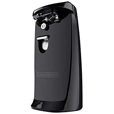BLACK+DECKER EC475B Extra-Tall Electric Can Opener with Knife Sharpener, Black