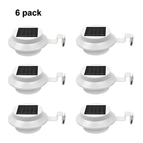 6Pack Outdoor Solar Gutter LED Lights - White Sun Power Smart Solar Gutter Night Utility Security Light