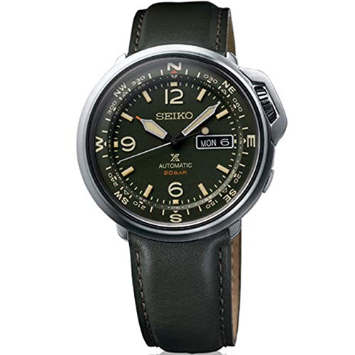 SEIKO Prospex Automatic 20 Bar Land Series Compass Green Leather Sports Watch SRPD33K1