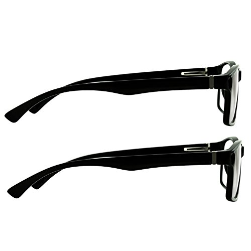 Computer Reading Glasses 0.00 Black 2 Pack Protect Your Eyes Against Eye Strain, Fatigue and Dry Eyes from Digital Gear with Anti Blue Light, Anti UV, Anti Glare, and are Anti Reflective by TruVision Readers (Image #9)'