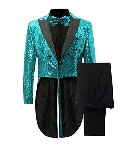 duorou Men's Notch Lapel Sequins Tailcoat Magician Performing Dress Wedding Prom Tuxedos Teal