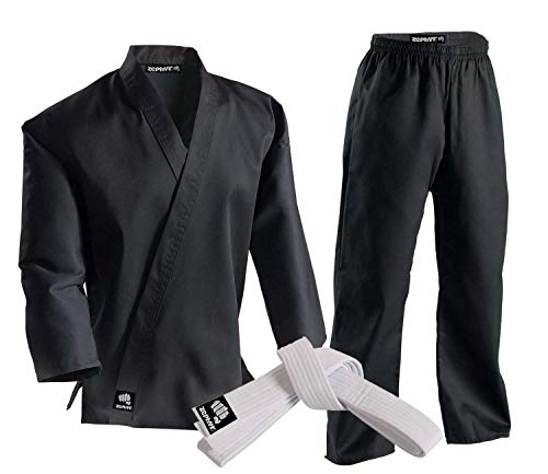 Zephyr Martial Arts 7.5 oz. Karate Gi Student Uniform with Belt - Black - 00