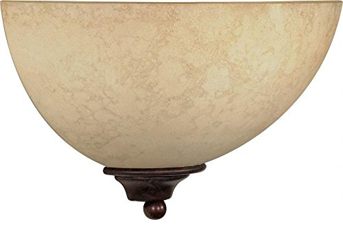 One Light Wall Sconce with Marble Bronze Glass, Old Bronze