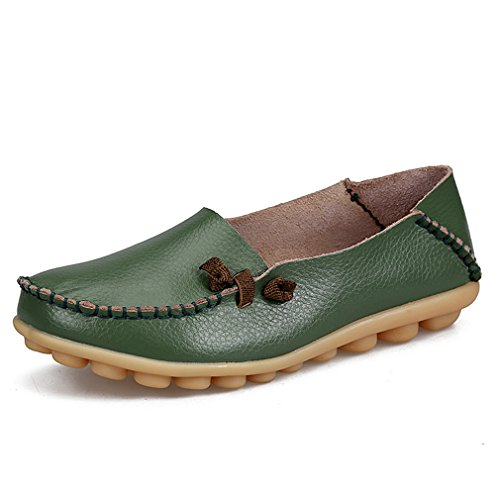 Driving Mocassini Madre vera Solid Flats Casual Boat Scarpe 9 Donna Donna pelle Army Green Shoe da In donna Footwear qwwxfzP