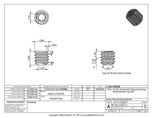 Allied Titanium 0000858, (Pack of 10) 1/4-20 X 1/4 inch UNC Titanium Set Screw, Socket Drive with Cup Point, Grade 5 (Ti-6Al-4V) by Allied Titanium (Image #1)
