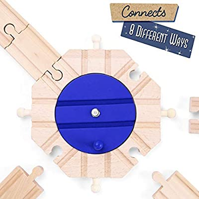 Conductor Carl Wooden Train Track Turntables (2-Pack)   Eight-Way Rotating Directing and Switching Accessory   Compatible Playset Expansion for Major Hobby and Toy Brands: Toys & Games