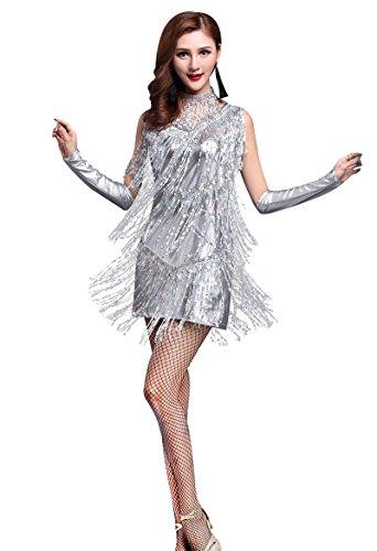 Silver Fringe Dress (Z&X 1920s Sequin Embellished Fringe Flapper Latin Dance Dress 4 Pieces Outfits Large Silver)