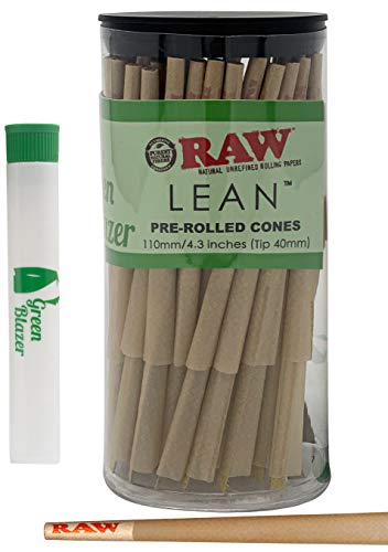 RAW Pre Rolled Cones Lean: 100 Pack - Lean Size Rolling Papers with Filter Tips - All Natural Slow Burning RAW Cone - Includes Green Blazer Doob Tube (Best Slow Burning Joint Papers)